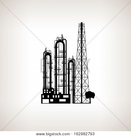 Silhouette of a chemical plant or refinery processing of natural resources or a plant for the manufacture of products . Chemical factory silhouette for industrial and technology design