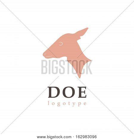 Vector illustration, profile silhouette DOE. Deer logo.