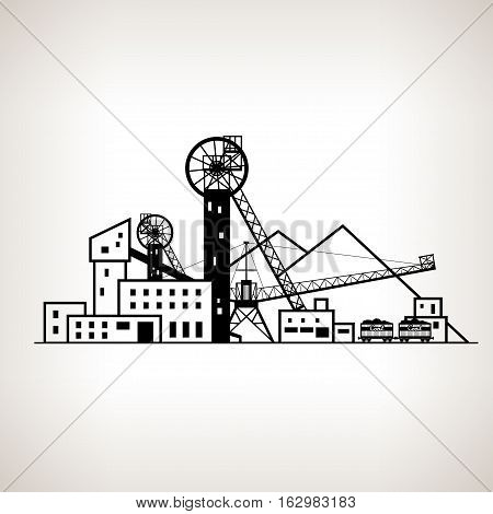 Silhouette complex industrial facilities with spoil tip and with rail cars, coal mine on the light background, black and white   illustration