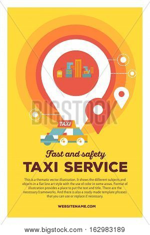 Vector Creative Colorful Illustration Of Modern City Taxi Service And Navigation With Header Taxi Se