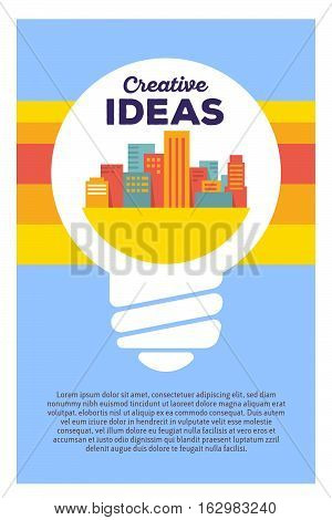 Vector Creative Colorful Illustration Of Light Bulb With City And Header Creative Ideas, Text On Blu