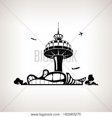 Silhouette control tower at the airport on a light background,  black and white  illustration