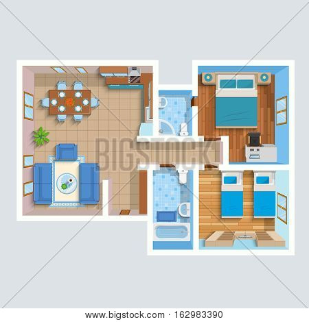 Top view flat interior plan with lounge two bedrooms bathrooms and furniture vector illustration