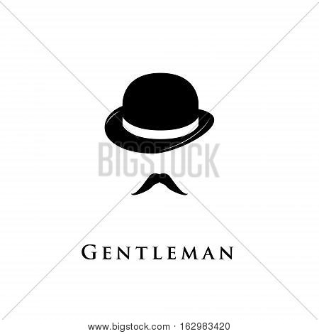 Gentleman icon isolated on white background. Image mustache and bowler.