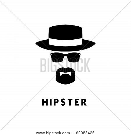 Hipster face comprised of the basic features of goatee hat and or sunglasses.