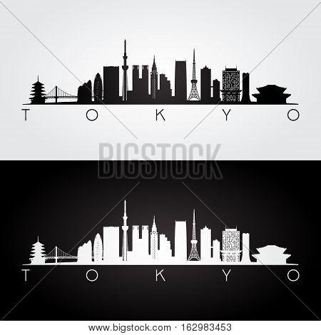 Tokyo Japan skyline and landmarks silhouette black and white design vector illustration.