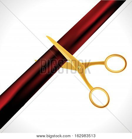 Grand Opening design template with ribbon and scissors. Grand open ribbon cut concept isolated