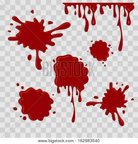 Paint drop abstract illustration. Red blood on checkered transparent background. Flat style. Vector set