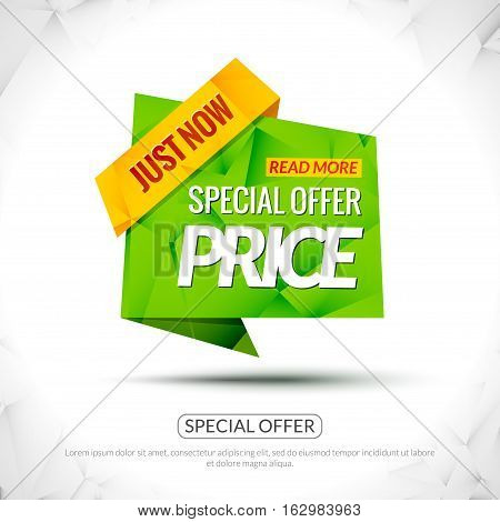 Sale Tag special price Paper Origami style banner. Promotional marketing special offer price for markets, stores and shops. Sale poster.