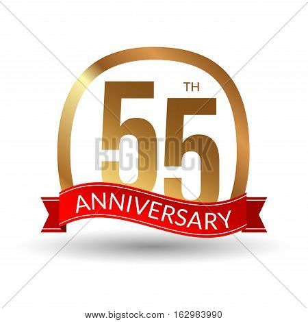 55 years anniversary experience gold label with red ribbon, vector illustration.