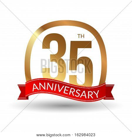 35 years anniversary experience gold label with red ribbon, vector illustration.