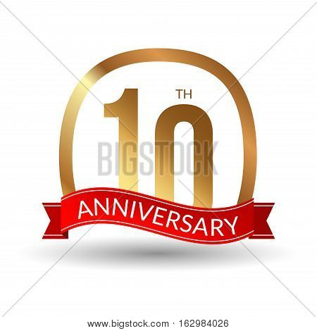 10 years anniversary experience gold label with blue ribbon, vector illustration.