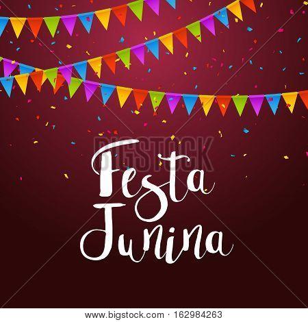 Festa Junina celebration poster. Brazilian festa decoration flye design template.