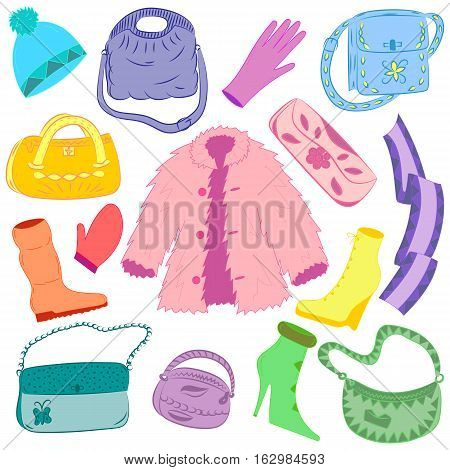 Hand Drawn Colorful Winter Clothes and Handbags Isolated on White. Cute shoes on high heel scarf mitten glove and fur coat.Vector illustration.