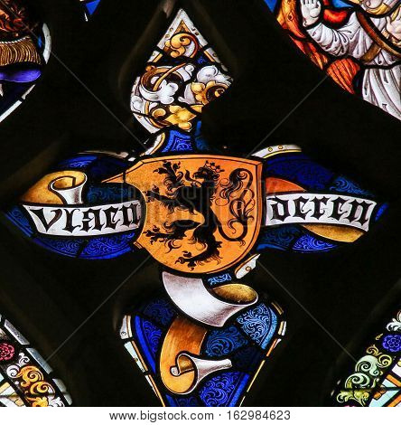 Stained Glass - Flemish Lion