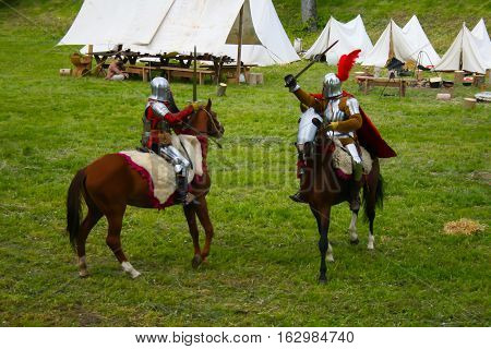 Battle on a knightly tournament. Medieval jousting.Belarus, Minsk