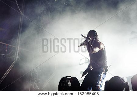 BELGRADE, SERBIA - SEPTEMBER 19TH: MAXIM REALITY FROM ENGLISH BAND THE PRODIGY PERFORMING AT WARRIOR'S DANCE FESTIVAL ON SEPTEMBER 19TH, 2012 IN BELGRADE, SERBIA