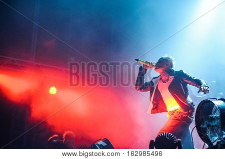 BELGRADE, SERBIA - SEPREMBER 19TH: KEITH FLINT FROM ENGLISH BAND THE PRODIGY PERFORMING AT WARRIOR'S DANCE FESTIVAL ON SEPREMBER 19TH, 2012 IN BELGRADE, SERBIA