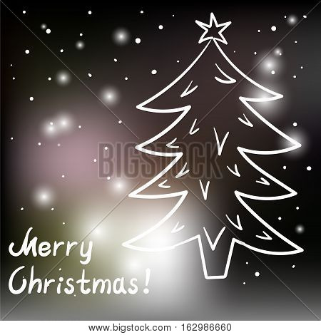 Christmas card with Christmas tree and lights on black background