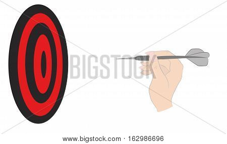 Hand with dart throwing at a target. vector illustration.