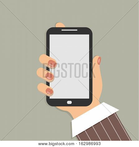 Mobile phone in the female hand. Smartphone in hand of businesswoman. Sleeve white shirt and a burgundy striped suit. Red nails. Vector illustration.