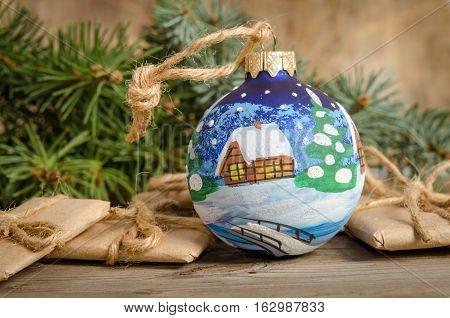 Painted Christmas Ball And Holiday Correspondence