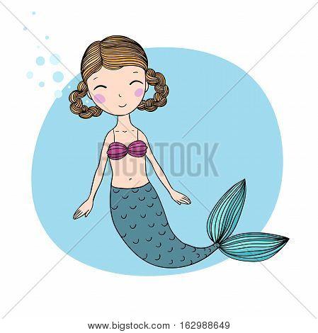 Beautiful little mermaid. Siren. Sea theme. Hand drawn vector illustration on a white background.