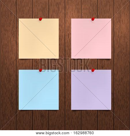 Vector mockup. Sheets of color paper with a red push pins hanging on a brown wooden wall. Empty blanks notes. Wood texture with vertical stripes rustic panels. Hardwood background. Interior template