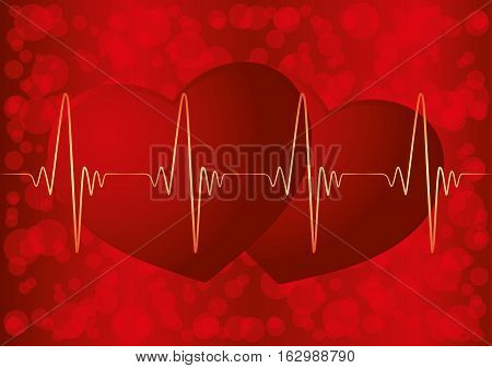 Two hearts and pulse on a red background.