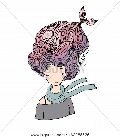 Beautiful young girl mermaid. Sea theme. Hand drawing isolated objects on white background. Vector illustration.