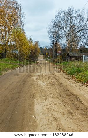 Roads small provincial township. In the township there are streets with dirt roads.