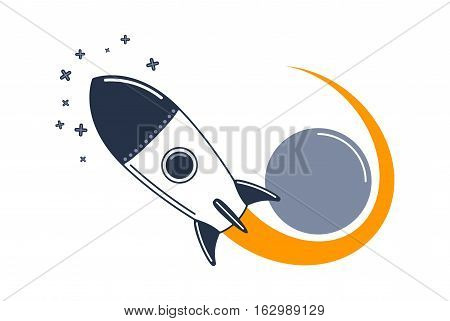 Cartoon rocket in space. Rocket flies planet and fly to the stars. Vector illustration.