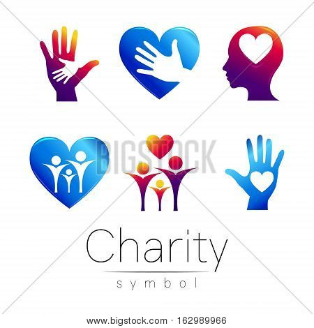 Vector Set illustration. Symbol of Charity.Sign people heart hean hand isolated on white background.Violet blue Icon company, web, card.Modern bright element. orphans Help kids campaign.Family image