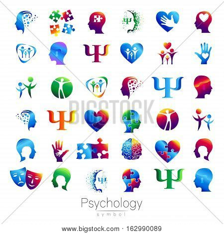 Modern head sign Set of Psychology. Profile Human. Creative style. Symbol in vector. Design concept. Brand company. Green blue orange violet color isolated on white background. Icon for web