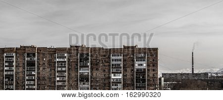 Apartment buildings, view of the old residential area, houses, municipal housing, coal power plant, grunge urban landscape
