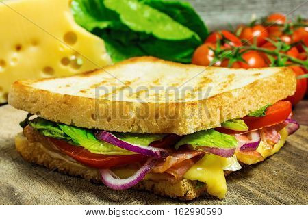 grilled sandwich or panini with bacon cheese onion salad and tomatoes on rustic wooden table. shallow depth of field