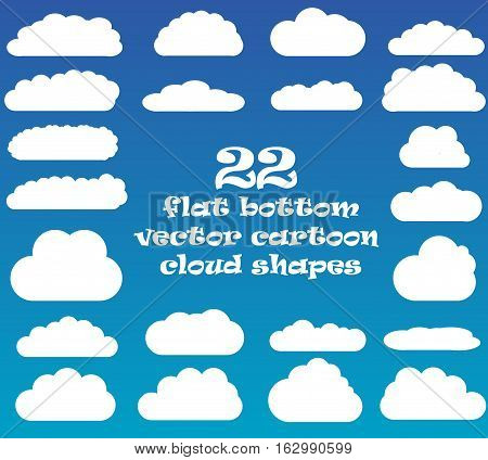Cloud vector icons isolated over blue sky background cartoon vector clouds set