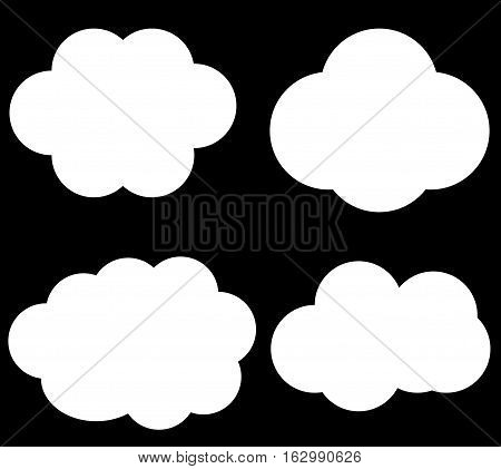Cloud vector icons isolated over black background white fluffy vector clouds set
