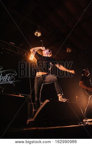 BUDAPEST, HUNGARY - NOVEMBER 29TH: SINGER WINSTON MCCALL OF AUSTRALIAN METALCORE BAND PARKWAY DRIVE DURING PERFORMANCE AT PECSA MUSIC HALL 2012, IN BUDAPEST, HUNGARY
