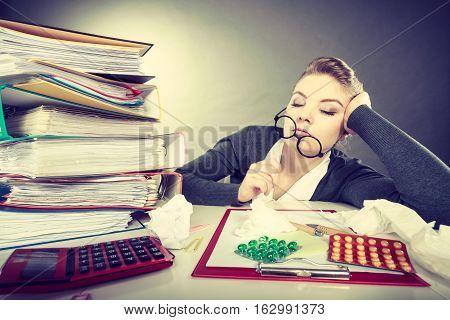 Sleepy Tired Businesswoman At Work.