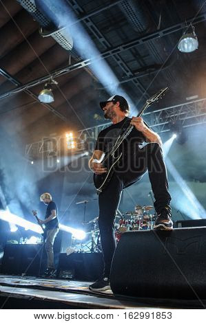 BUDAPEST, HUNGARY - NOVEMBER 29TH: GUITARIST JEFF LING OF AUSTRALIAN METALCORE BAND PARKWAY DRIVE DURING PERFORMANCE AT PECSA MUSIC HALL 2012, IN BUDAPEST, HUNGARY
