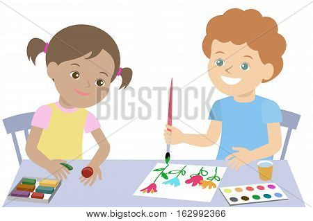 Small children draw paint and mold from plasticine. Vector illustration
