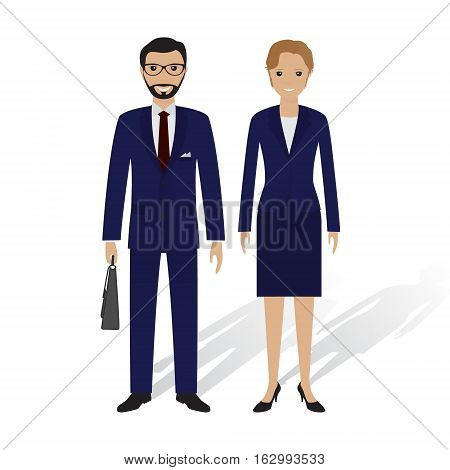 Business people male and female. Office employees man and woman standing together. Business teamwork concept. Flat style vector illustration.