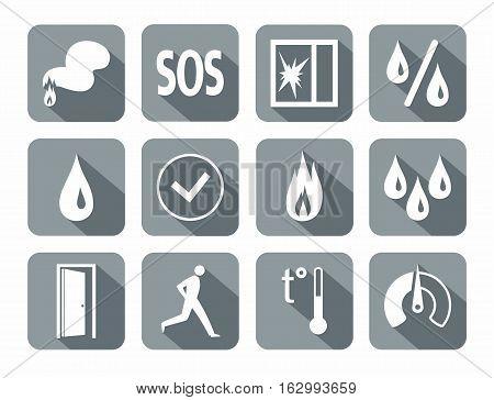 Alarm, fire detectors, humidity, motion, temperature, glass break, icons, gray. Vector white image on a gray background with shadow. Pictures for the sensors.