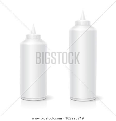 Blank plastic white mayonnaise mustard ketchup bottle for branding isolated on background