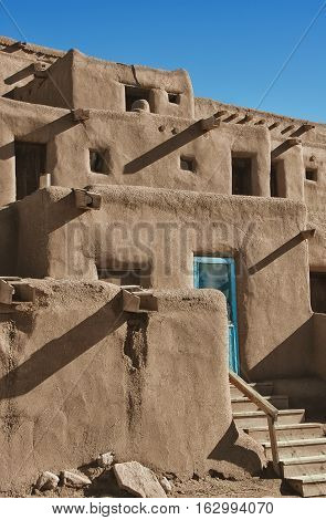 Taos Pueblo, Adobe buildings occupied for at least 1400 years.