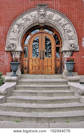 Medieval revival style doorway and steps in Indianapolis