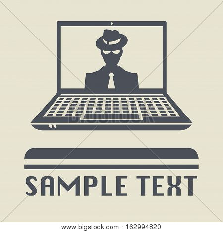 Laptop or notebook computer with Mafia icon or sign vector illustration