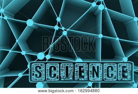 Molecule And Communication Background. Science text. Unusual font. Connected lines with dots. Medical, technology, chemistry, science background. 3D rendering