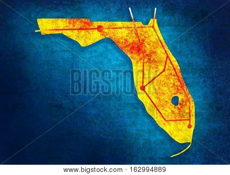 Image relative to USA travel. Florida state road map. Multicolor brush painting.